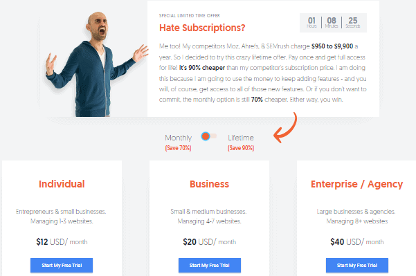 Ubersuggest Pricing Plans