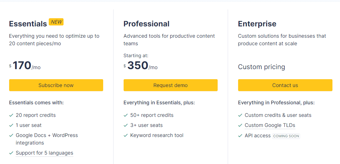 Surfer SEO Vs. Pricing of Clearscope